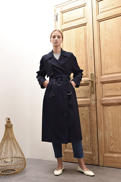 [이보영,김혜수,강예원 착용]ADS-TCC602-10 EMILY DOUBLE TRENCH COAT (Navy)